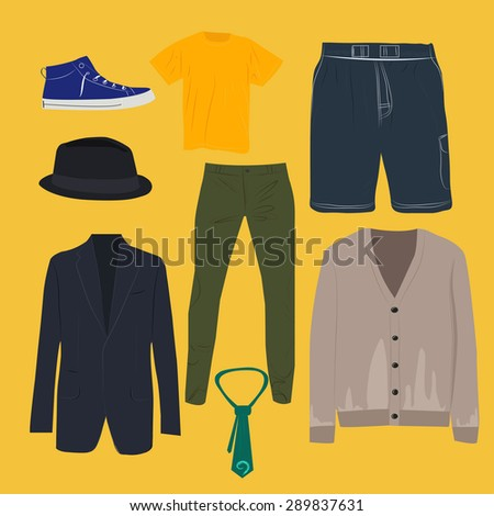 Man clothing set, clothes icons, shopping elements.  - stock vector