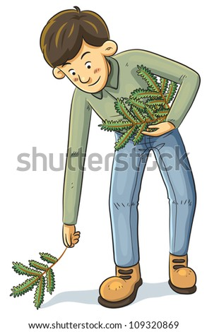 Man Collecting Branch - stock vector
