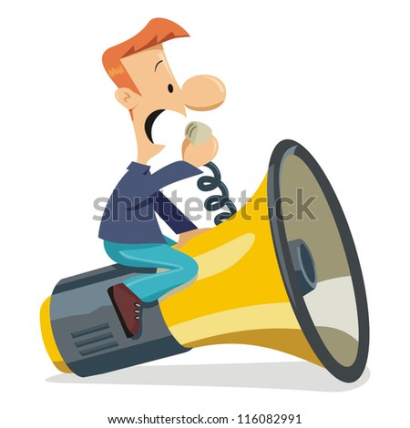 Man communicating with a big megaphone - stock vector