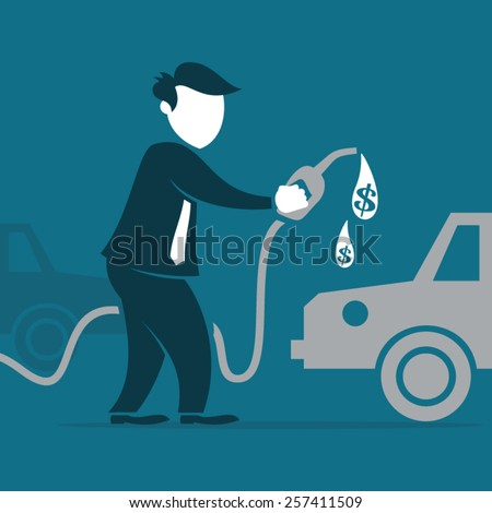 Man Complaining About Gas Prices - stock vector