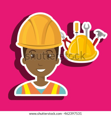 man construction tool helmet vector illustration graphic
