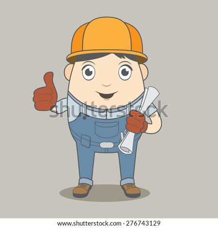 Man construction worker, high quality vector illustration EPS10 - stock vector
