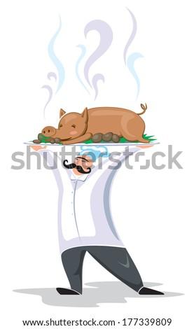 man cook pork - stock vector