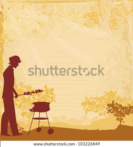 man cooking on his barbecue  Invitation - stock vector