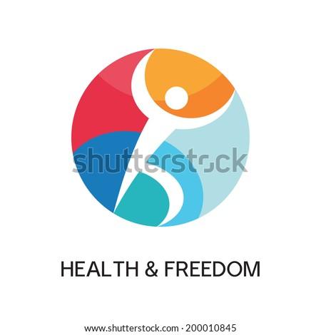 Man Creative Logo Sign for sport club, health center, music festival etc. Vector illustration symbol. Vector logo template. Human logo. Human icon. Human character illustration. Design element.  - stock vector