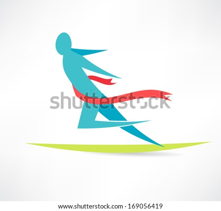 man crosses the tape first icon - stock vector