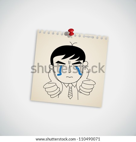 Man crying and show thumb up vector - stock vector