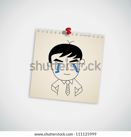 Man Crying on Note Paper Vector - stock vector