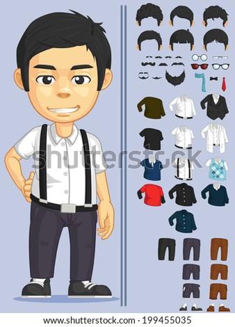 Man Customizable Character - stock vector