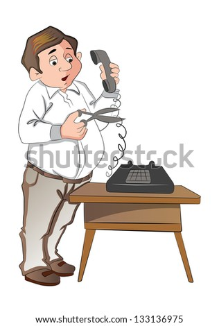 Man Cutting a Telephone Cord, vector illustration