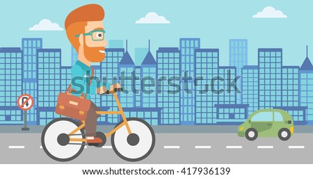 Man cycling to work. - stock vector