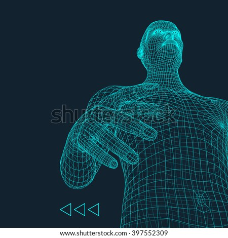 Man. 3D Model of Man. Human Body Model. Body Scanning. View of Human Body. 3D Geometric Design. 3d Covering Skin. Can be used for Avatar, Science, Technology and Business. - stock vector