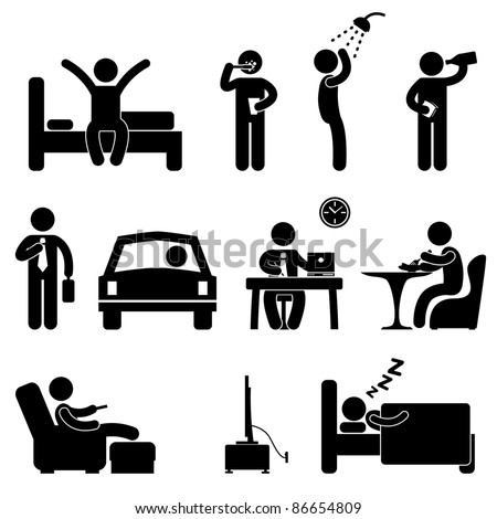 Man Daily Routine People Icon Sign Symbol Pictogram - stock vector