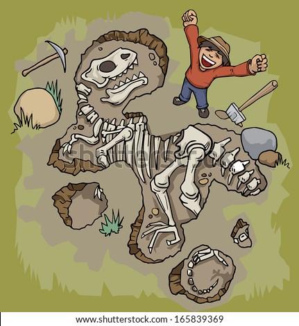 Man discovering a dinosaur fossil, vector illustration - stock vector