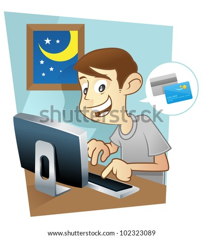 Man doing online shopping on his computer at home - stock vector