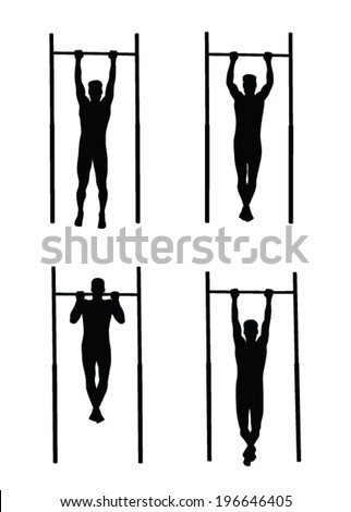 man doing pull-ups vector silhouette - stock vector