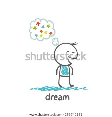 man dreams about stars illustrator - stock vector