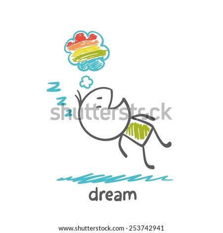 man dreams rainbow illustrator - stock vector