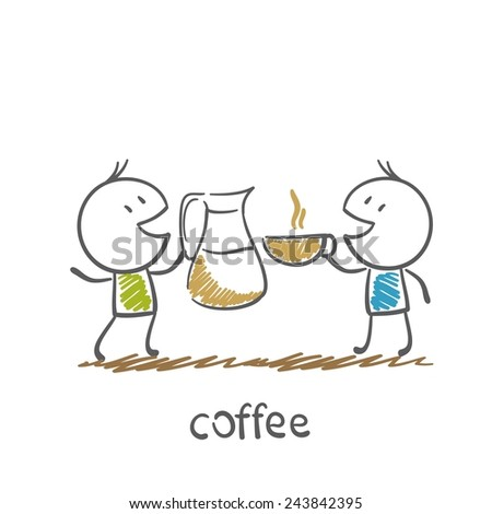 man drinking coffee with a friend illustration - stock vector