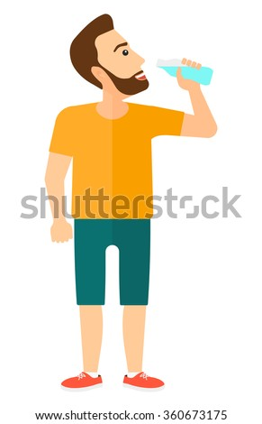 Man drinking water. - stock vector