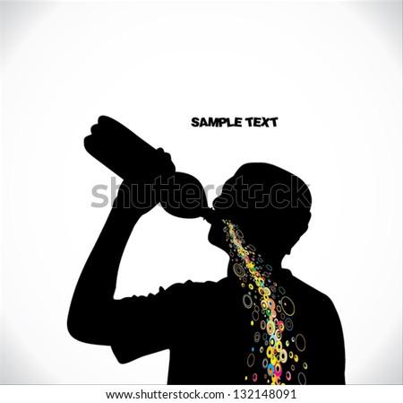 Man drinks - stock vector