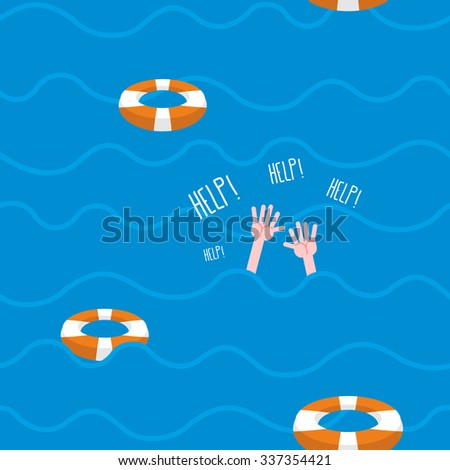 """Man drowns  seamless pattern. Lifebuoy on waves of sea. Texture of sinking man raised his hands and screams-""""Help"""". Hands protrude from water. - stock vector"""