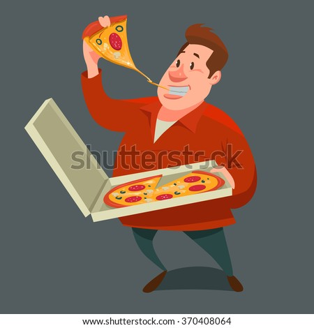 man eating a big slice of pizza and holding pizza in box cartoon character & Man Eating Big Slice Pizza Holding Stock Vector 370408064 ... Aboutintivar.Com