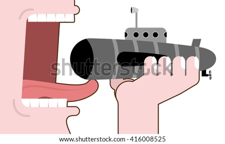 Man eating submarine. Destruction of military transport. Open mouth with tongue and teeth. Consumption of submarines. Liquidation of military equipment - stock vector