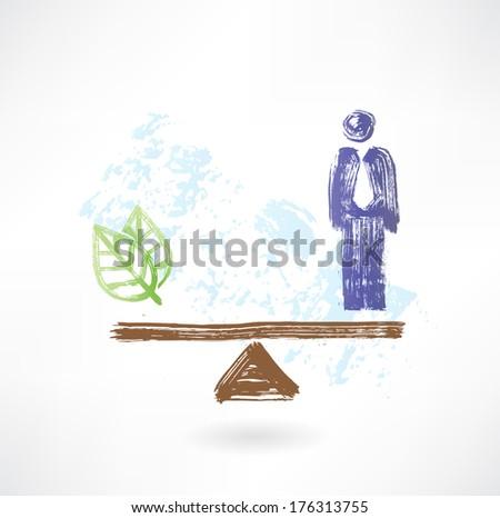 Man eco balance - stock vector