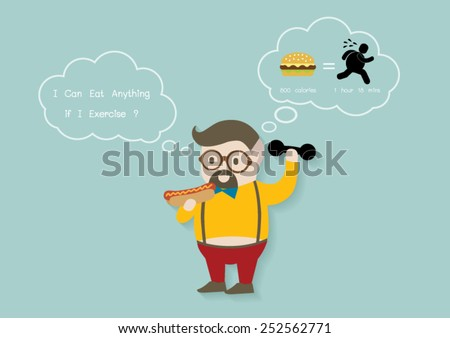 Man exercise and think vector cartoon. - stock vector