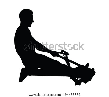 Man exercise on rowing machine vector illustration - stock vector