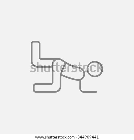 Man exercising buttocks line icon for web, mobile and infographics. Vector dark grey icon isolated on light grey background. - stock vector