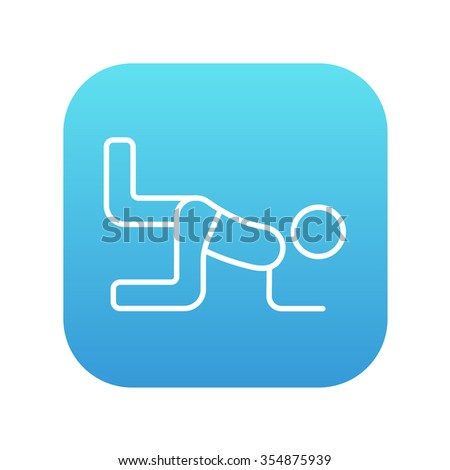 Man exercising buttocks line icon for web, mobile and infographics. Vector white icon on the blue gradient square with rounded corners isolated on white background. - stock vector