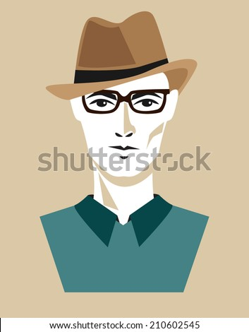 man face with a hat - stock vector