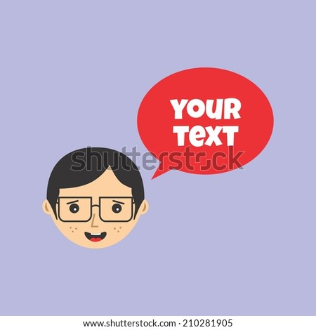 man face with bubble speech - stock vector