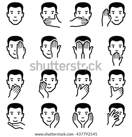 Man face with hand emoticons icon collection - vector outline illustration