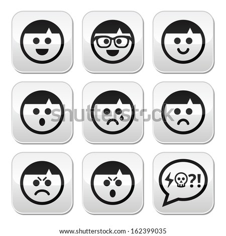 Man faces, avatar vector buttons set - stock vector