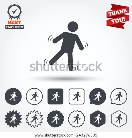 Man falls sign icon. Falling down human symbol. Caution slippery. Circle, star, speech bubble and square buttons. Award medal with check mark. Thank you ribbon. Vector - stock vector