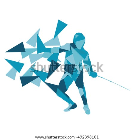 Man fencing sport vector background concept illustration made of polygon fragments isolated on white
