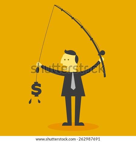 Man fishing money - stock vector