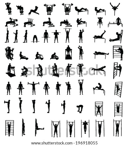 Man fitness exercise group vector silhouettes - stock vector