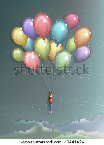 Man flying high in the air using big colorful balloons to lift himself up - stock vector