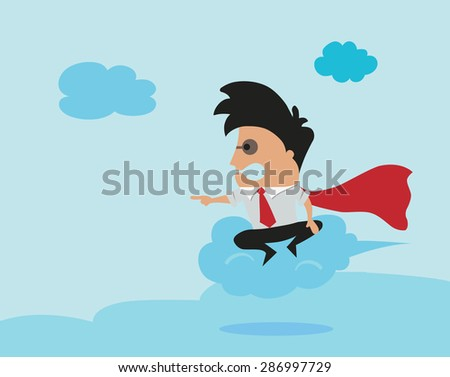 Man flying on cloud