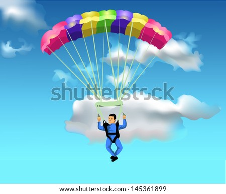 man flying with the parachute - stock vector