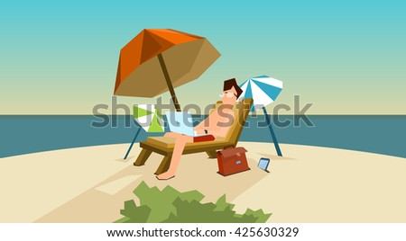 Man Freelance Remote Working Place On Sunbed Using Laptop Beach Summer Vacation Tropical Island Flat Vector Illustration