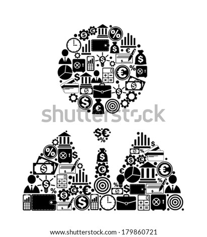 Man from finance icons - stock vector