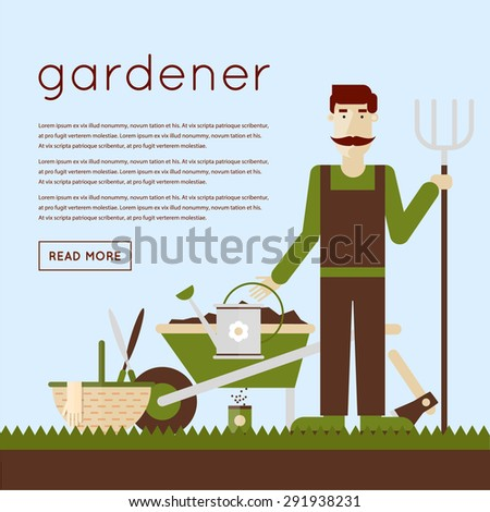 Man gardener and garden tools. Environmental activities. Gardening icons set. Modern flat style. Vector illustrations. - stock vector