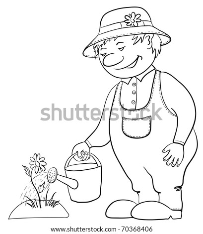 Man gardener waters a bed with a flower from a watering can, contour - stock vector