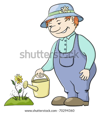 Man gardener waters a bed with a flower from a watering can, vector - stock vector