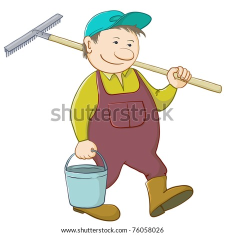 Man gardener with a bucket and a shovel goes to work in a garden - stock vector